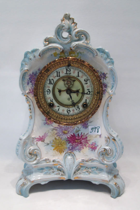 ROYAL BONN HAND PAINTED CHINA CASE MANTEL CLOCK, A