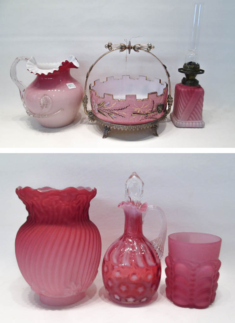 FIVE PIECES OF PINK VICTORIAN GLASS including a fl
