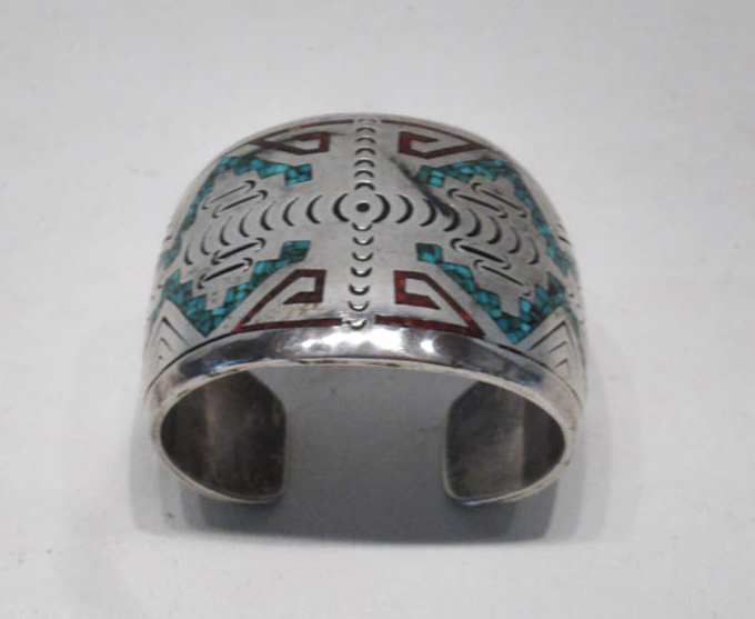ZUNI SILVER, TURQUOISE AND CORAL BRACELET the 6 1/