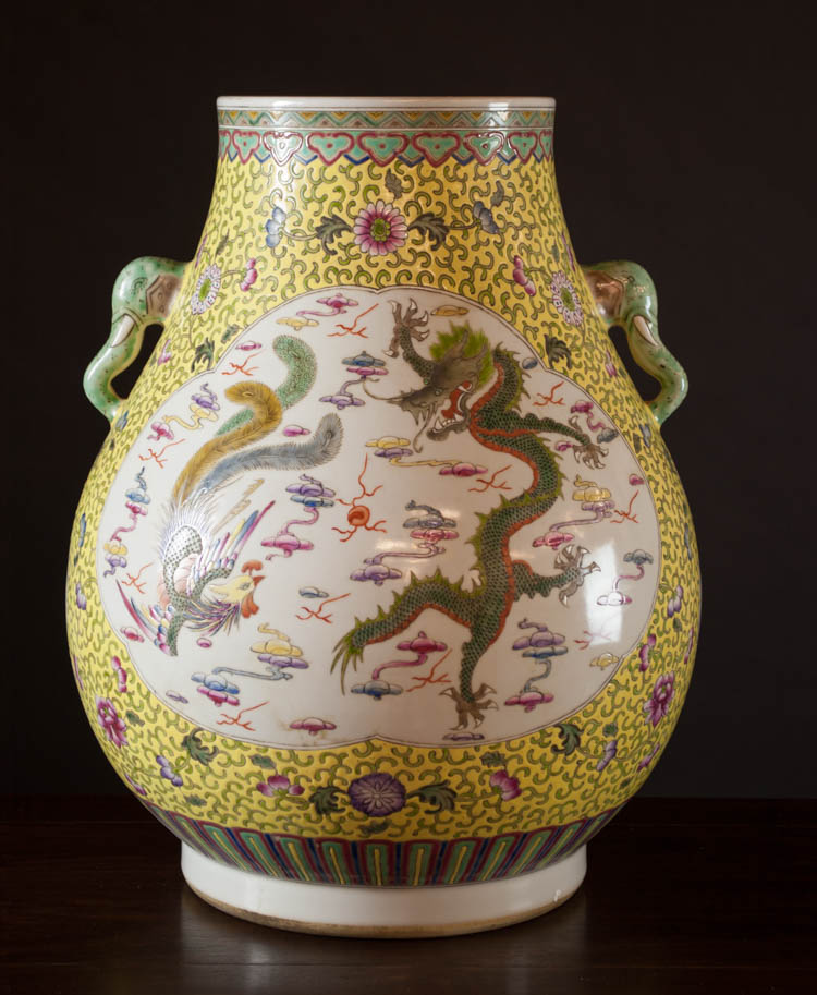 CHINESE PORCELAIN VASE, hu form with dragon and ph