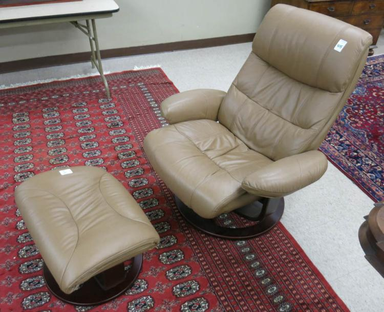 MODERN LEATHER RECLINING LOUNGE CHAIR WITH MATCHIN