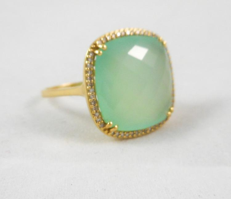 CHALCEDONY, DIAMOND AND FOURTEEN KARAT GOLD RING,
