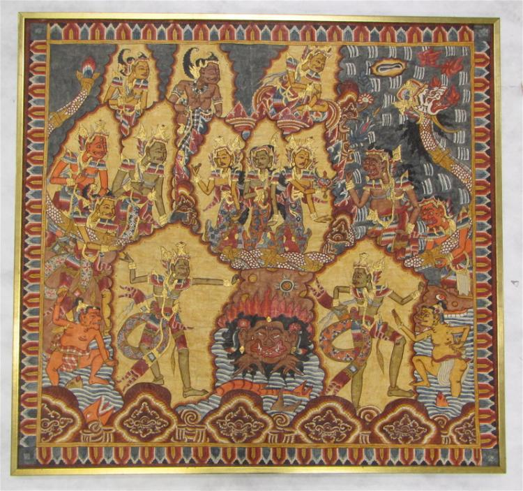 BALINESE NARRATIVE SCENE, hand-painted on cloth, f