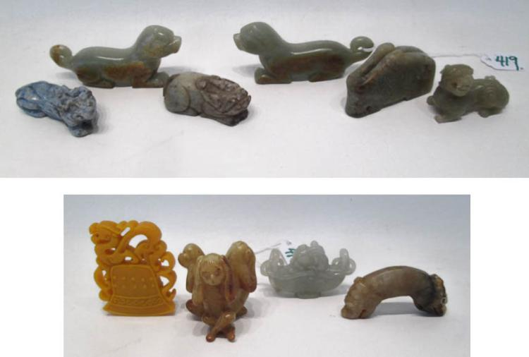 TEN CHINESE HARDSTONE AND JADE CARVINGS, various f