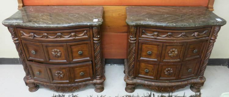 PAIR OF BOW-FRONT BEDSIDE CHESTS, Ashley Furniture