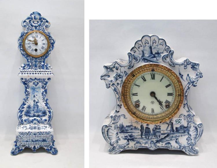 TWO CHINA CASE MANTLE CLOCKS; both having blue and