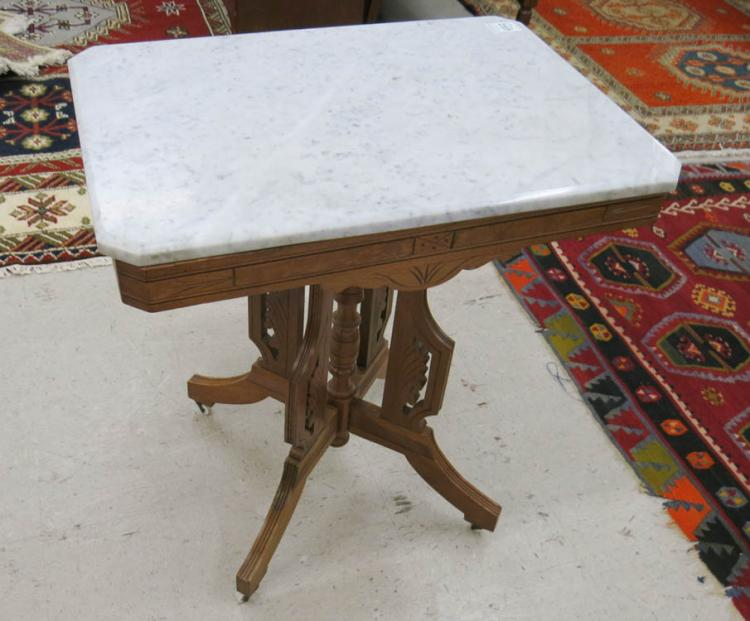 VICTORIAN MARBLE-TOP WALNUT LAMP TABLE, Charles Ea