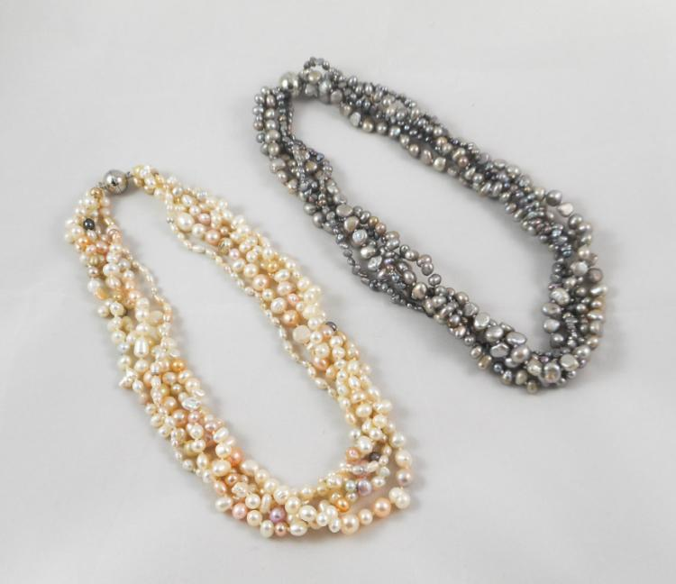 TWO MULTI-STRAND GRAY AND WHITE PEARL NECKLACES, e