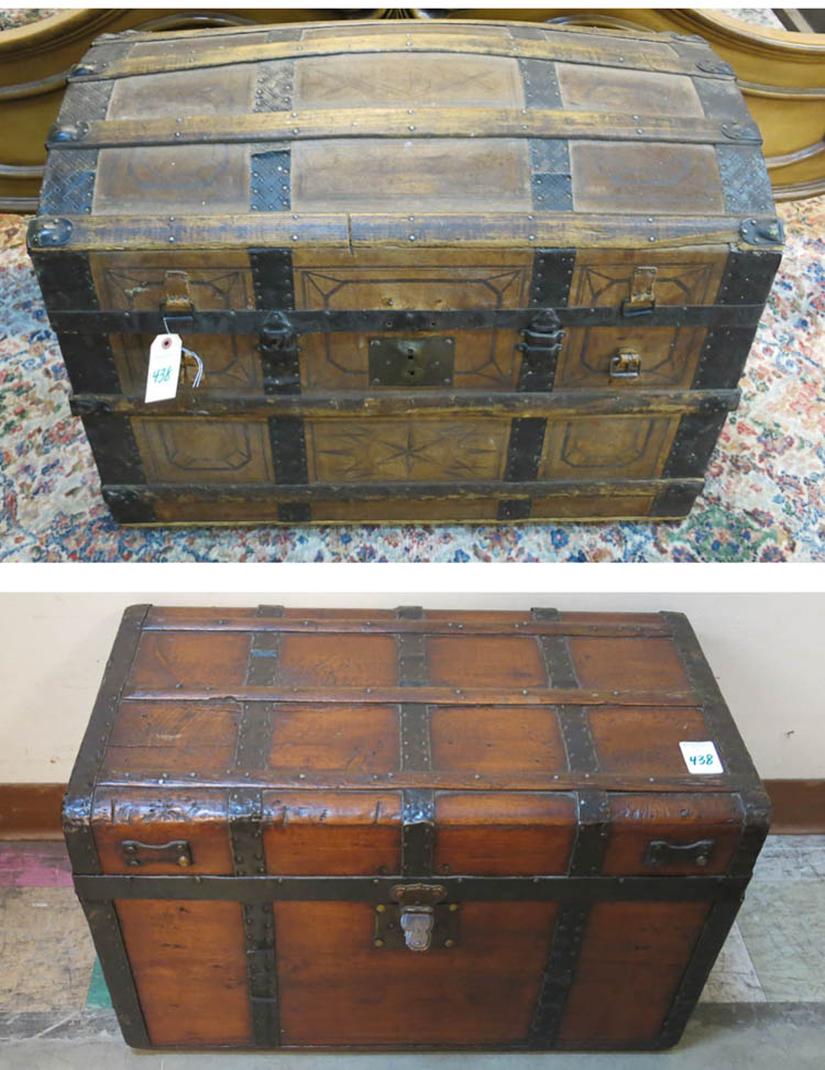 TWO AMERICAN ANTIQUE LIFT-TOP TRUNKS:  1) Civil Wa