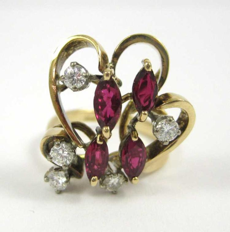 RUBY, DIAMOND AND FOURTEEN KARAT GOLD RING, set wi