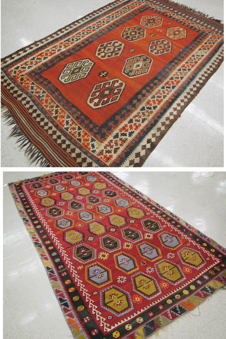 TWO SEMI-ANTIQUE HAND WOVEN FLATWEAVE KILIM RUGS: