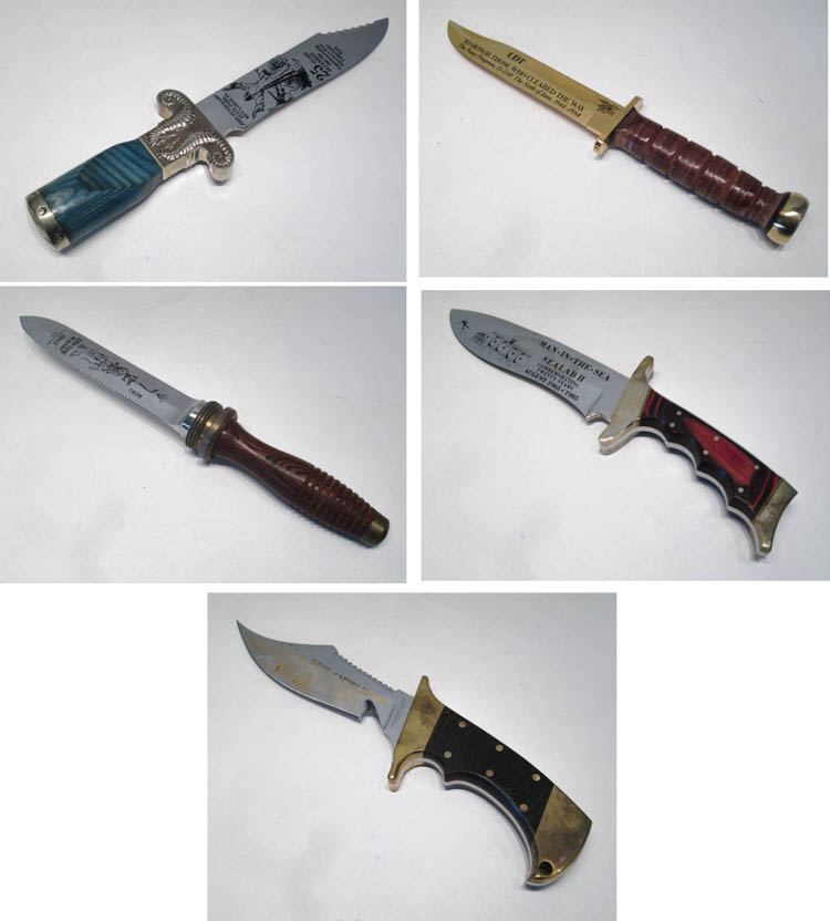 FIVE CASED WENOKA COMMEMORATIVE DIVING KNIVES:  19