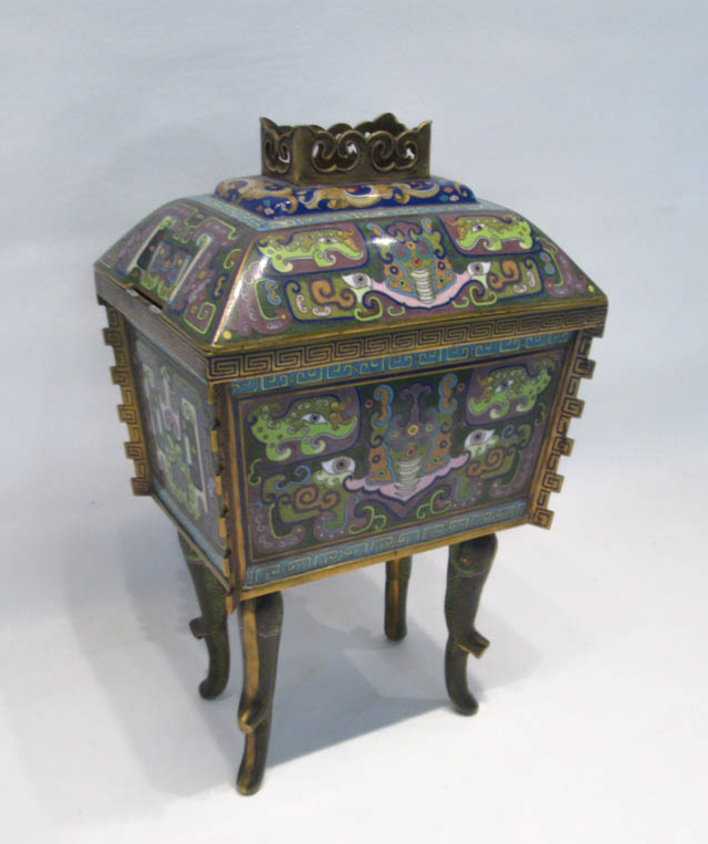 CHINESE CLOISONNE CENSER, casket form with domed l