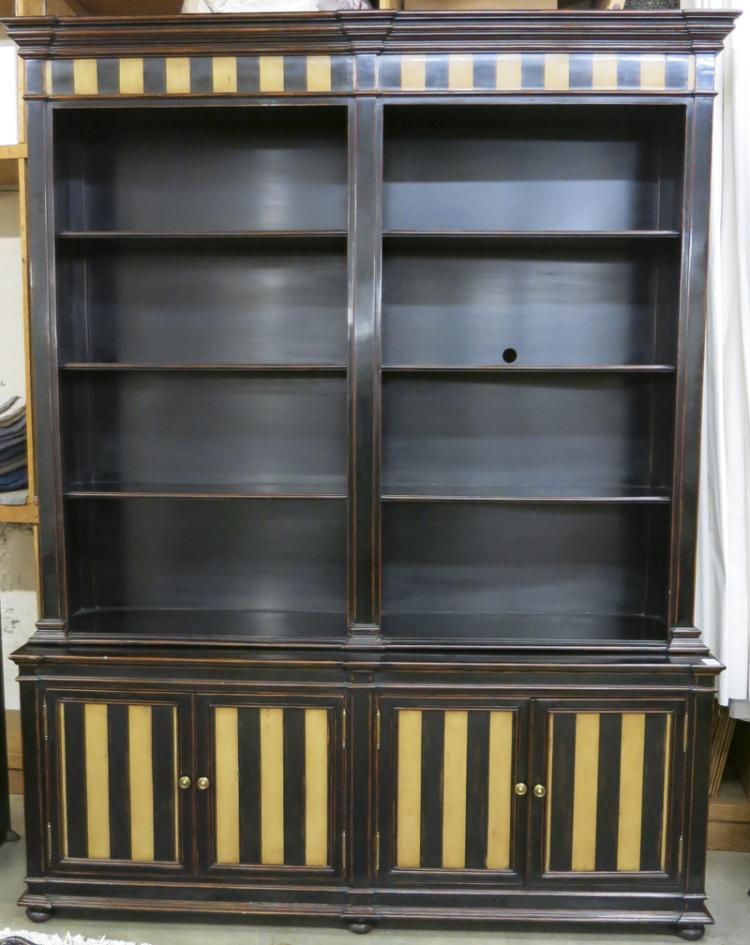 FEDERAL STYLE EBONIZED DISPLAY UNIT ON CABINET, Th