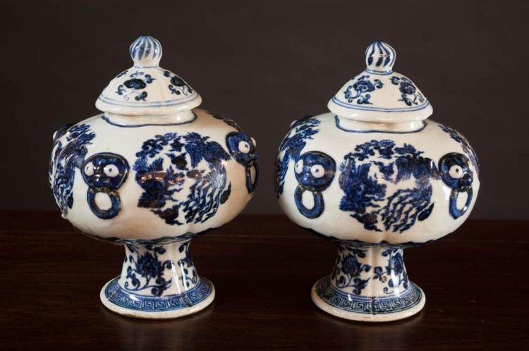 PAIR OF CHINESE MING STYLE PORCELAIN LIDDED JARS,