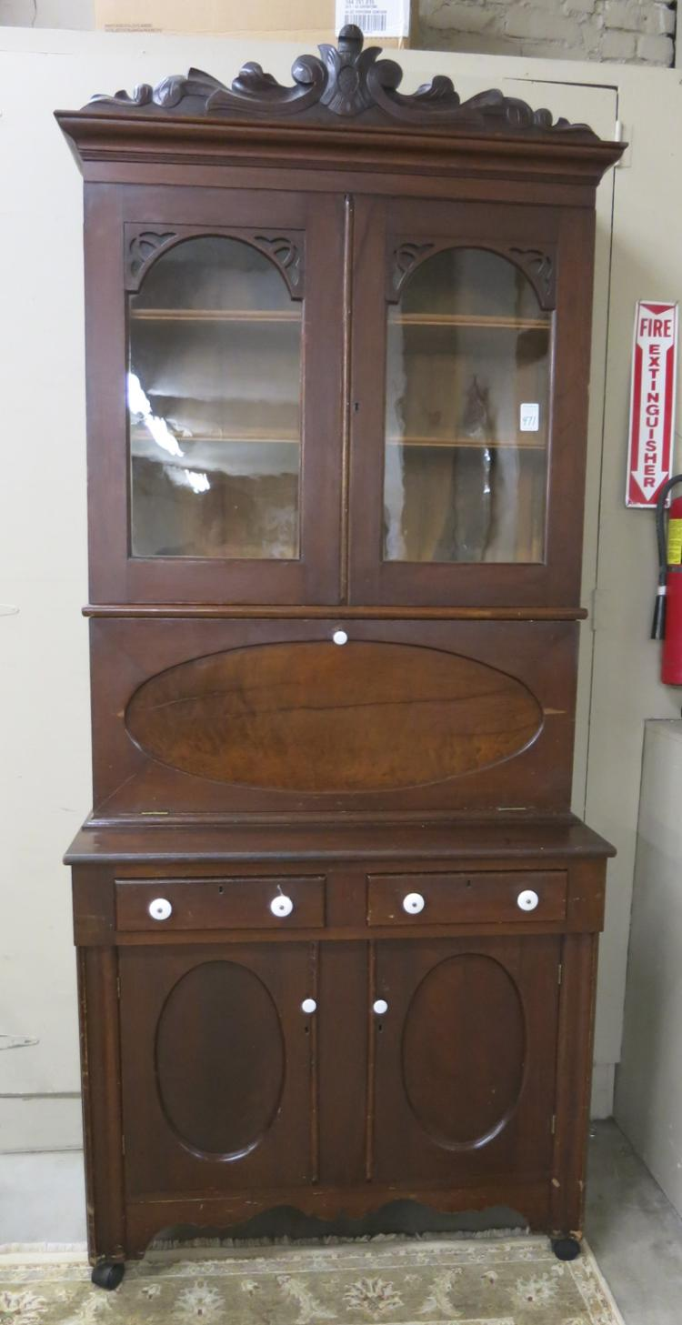 VICTORIAN WALNUT FALL-FRONT SECRETARY BOOKCASE, Am