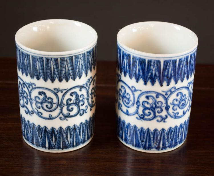 PAIR OF CHINESE PORCELAIN BRUSH POTS with blue and