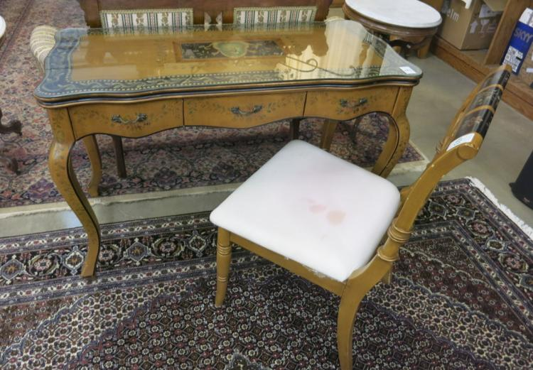 PROVINCIAL STYLE PAINT DECORATED WRITING TABLE AND