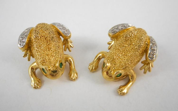 PAIR OF EMERALD AND DIAMOND CLIP-ON EARRINGS, each