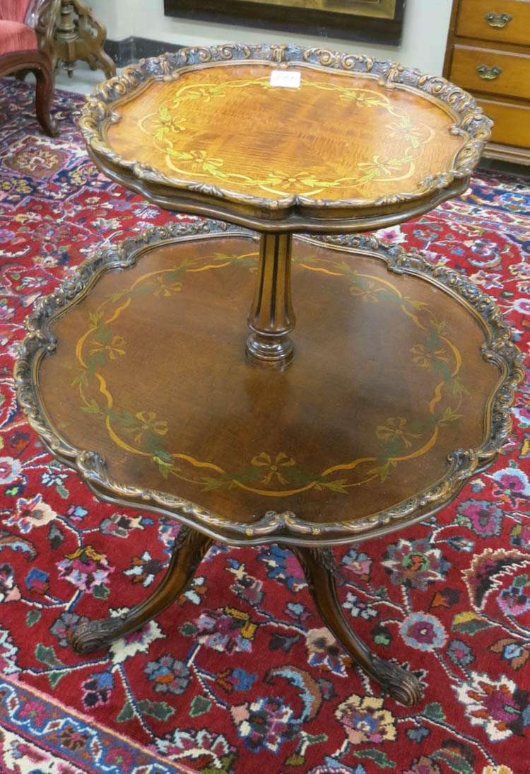 TWO-TIER INLAID MAHOGANY TEA TABLE, American, mid-