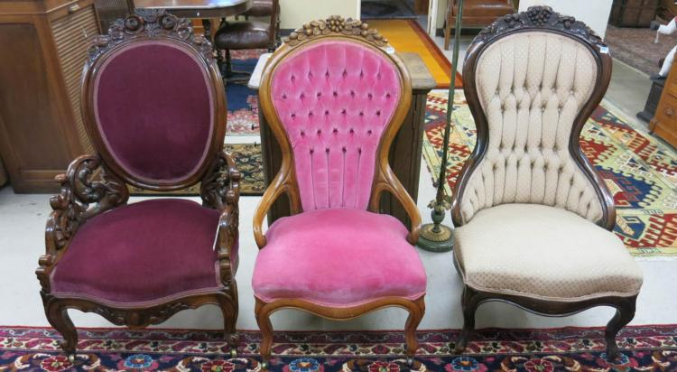 THREE VICTORIAN PARLOR CHAIRS, American, last quar