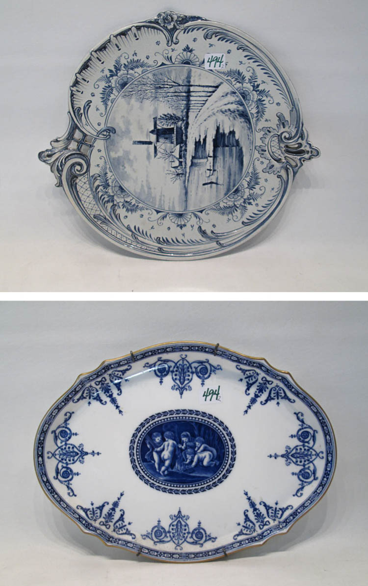 TWO BLUE AND WHITE PORCELAIN WALL PLAQUES:  Royal