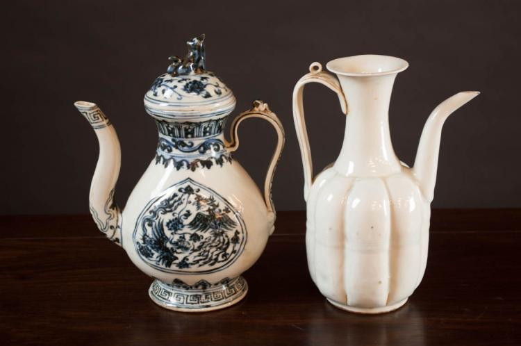 TWO CHINESE PORCELAIN EWERS, the first Song style