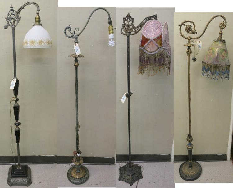 FOUR VINTAGE METAL FLOOR LAMPS, all bridge lamp st