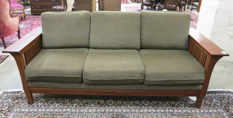 CRAFTSMAN STYLE OAK SOFA, American made, recent pr