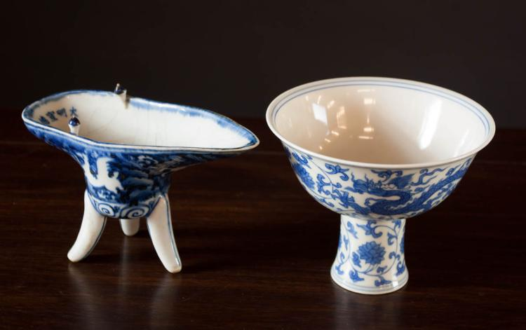 TWO PIECES MING STYLE CHINESE PORCELAINS, each dec