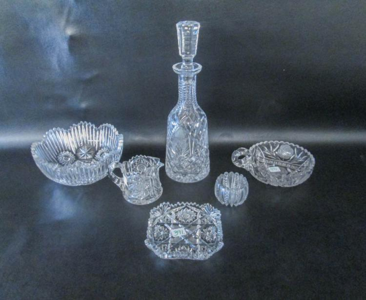 SIX PIECES CRYSTAL TABLEWARE including a stopped b