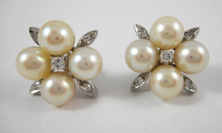 PAIR OF PEARL AND DIAMOND EARRINGS, each 14k white