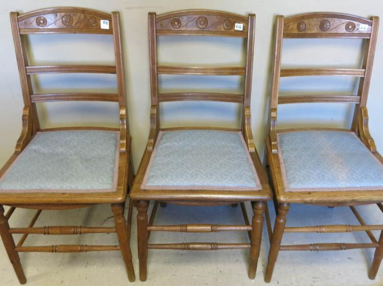A SET OF SIX VICTORIAN DINING CHAIRS, Eastlake sty