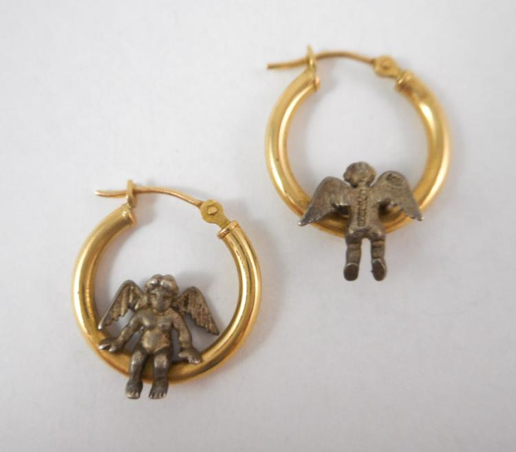 PAIR OF FOURTEEN KARAT GOLD HOOP EARRINGS, each ye