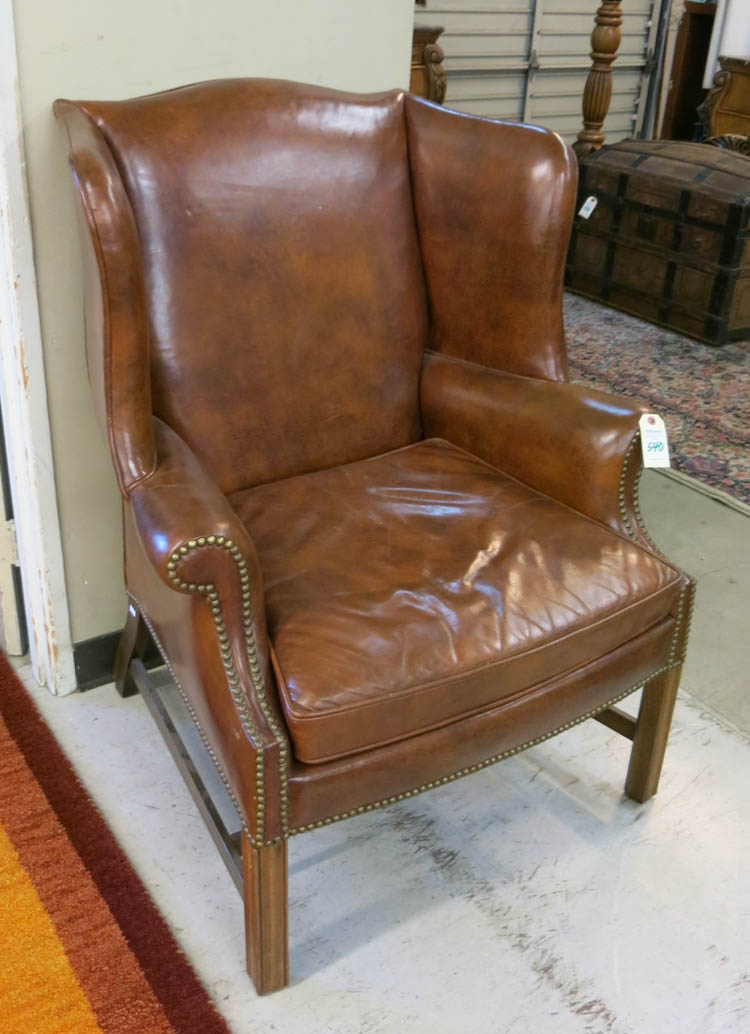CHIPPENDALE STYLE LEATHER WINGBACK ARMCHAIR, Woodm
