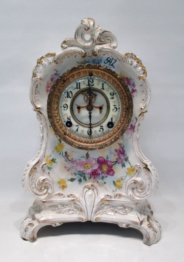 ROYAL BONN/ANSONIA CHINA CASE MANTEL CLOCK, with t