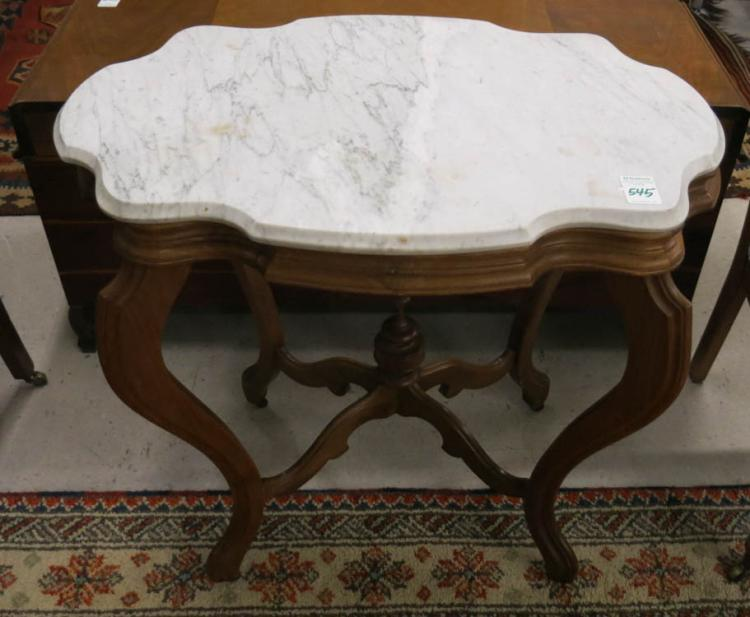 A VICTORIAN MARBLE-TOP LAMP TABLE, American, late