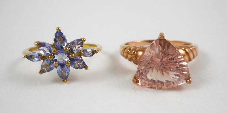 TWO TEN KARAT GOLD RINGS, including a size 7-1/2 1