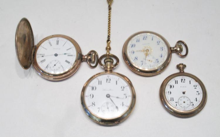 FOUR COLLECTIBLE POCKET WATCHES:  Waltham model 18