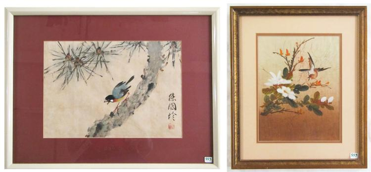 TWO CHINESE BIRD PAINTINGS: watercolor on paper,
