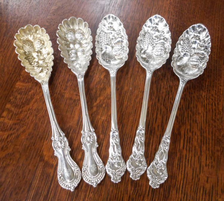 FIVE SILVER BERRY SERVING SPOONS:  set of 3 Victor