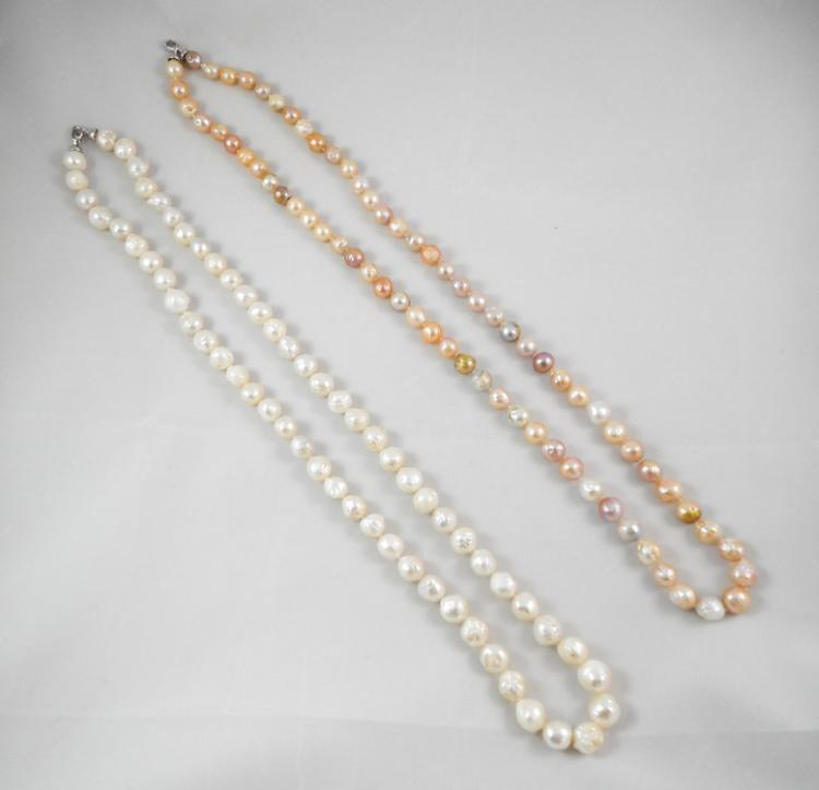 TWO OPERA LENGTH BAROQUE PEARL NECKLACES, includin