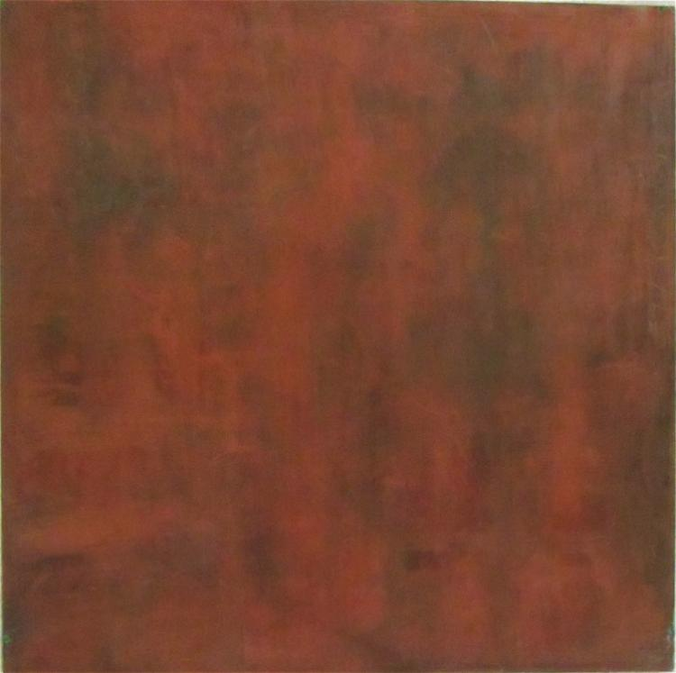 K. HIRN OIL ON BOARD, abstract composition in red.