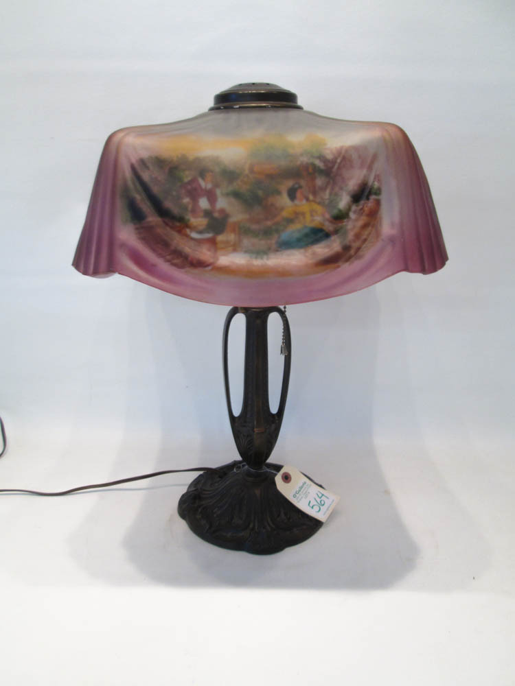 REVERSE PAINTED TABLE LAMP, the squared glass shad