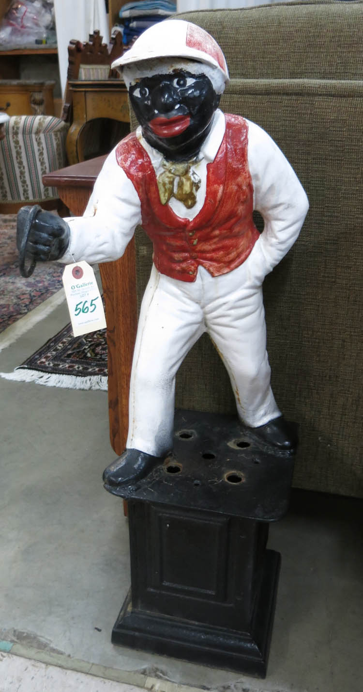 FIGURAL CAST IRON 'LAWN JOCKEY' HITCHING POST, a