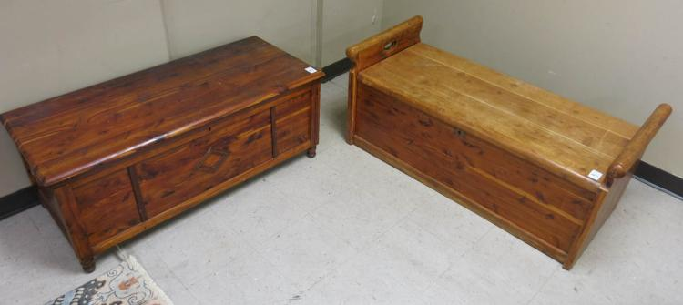 TWO LIFT-TOP CEDAR BLANKET CHESTS:  1) Acme Red Ce