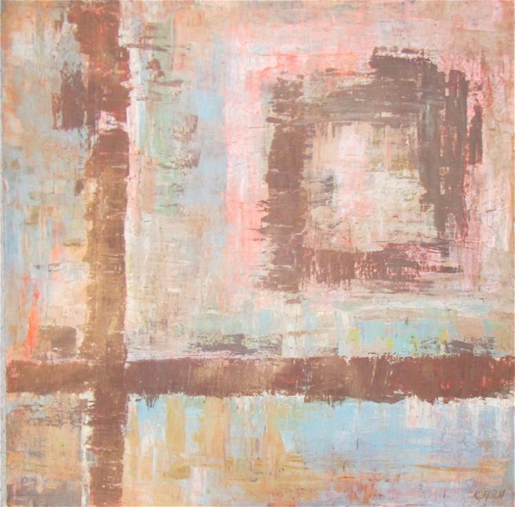 K.  HIRN OIL ON BOARD, abstract composition with g