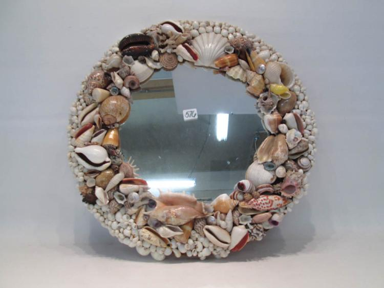 SEASHELL FRAMED WALL MIRROR of circular form inclu