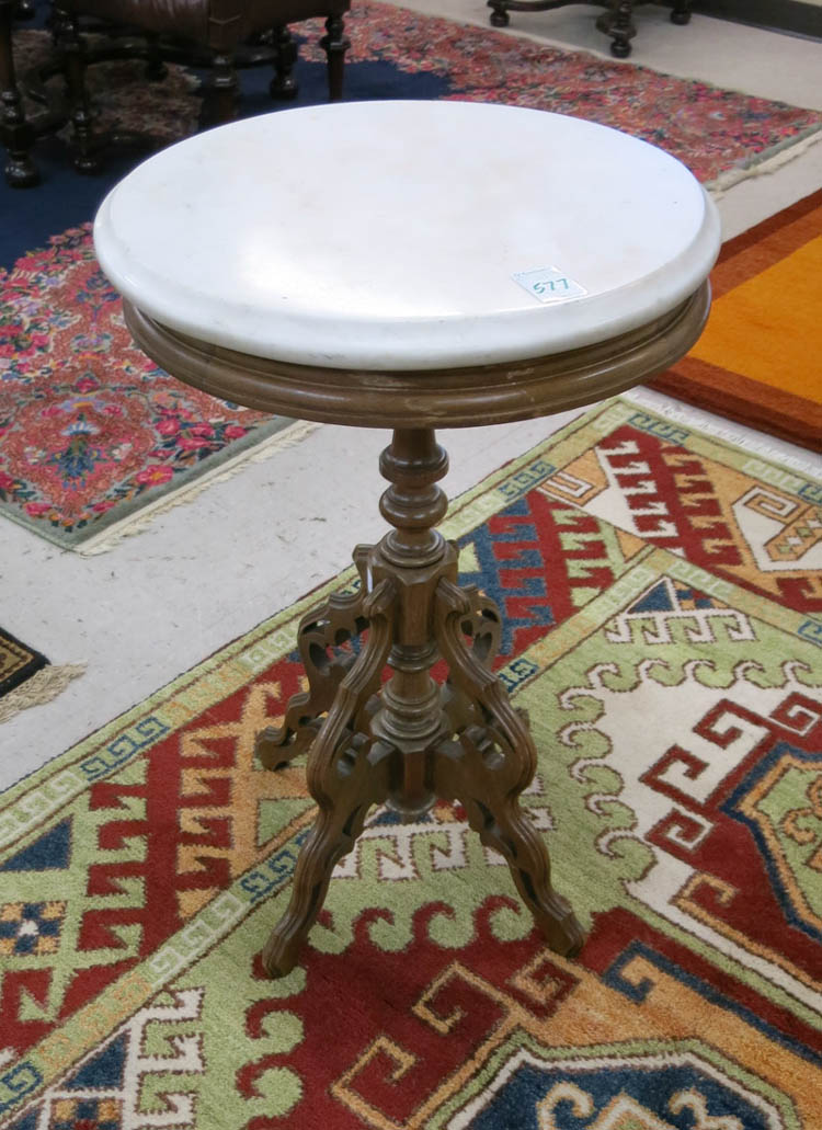 A VICTORIAN MARBLE-TOP LAMP STAND, American, late