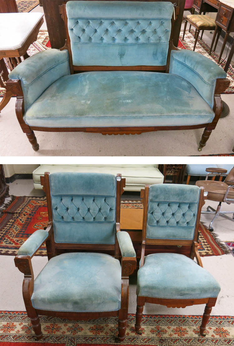 THREE-PIECE VICTORIAN PARLOR SET, Eastlake style,